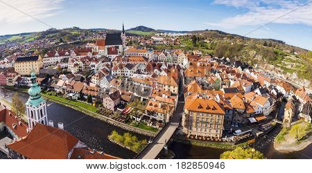Aerial panorama of Cesky Krumlov. Cesky Krumlov South Bohemia Czech Republic.