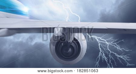 Airplane flying in stormy sky . Mixed media . Mixed media