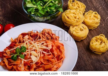 Vegetable Paste. Tagliatelle With Tomatoes
