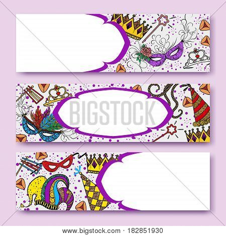 Purim coloreful banners collection with carnival masks and jaster hats, crowns, traditional Hamantaschen cookies. Vector illustration.