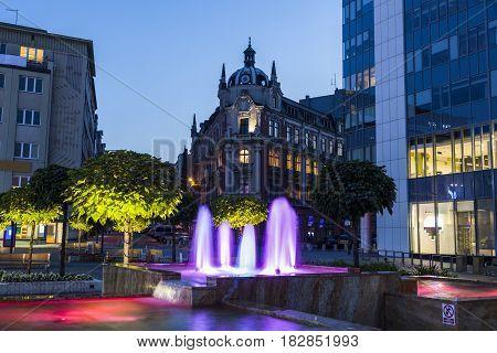 Main Square in Katowice. Katowice Slaskie Poland.
