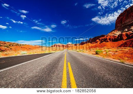 Driving Through Capital Reef National Park, Utah, Usa