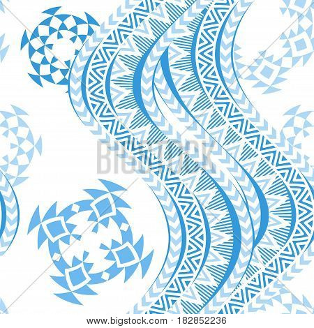 Sea waves seamless pattern. Tribal blue and white background. Ethnic ornaments. Vector illustration.