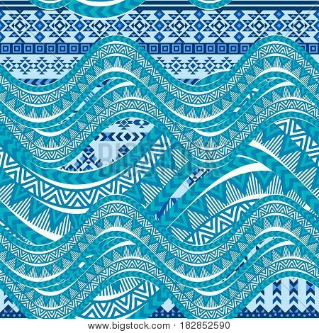 Sea wave background. Ethnic seamless pattern ornament, abstract blue and white geometric shapes. Tribal motives. Vector illustration.
