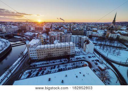 Aerial view of Pilsen. Pilsen Bohemia Czech Republic.