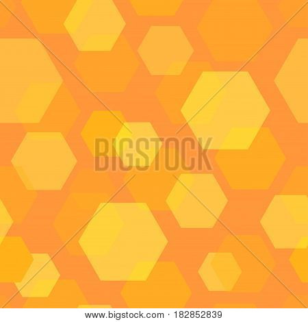 Seamless Background Pattern of Honeycomb. Abstract Creative Orange Geometric Backdrop.