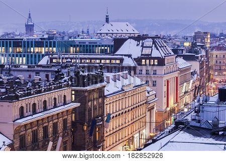 Prague streets - aerial view. Prague Bohemia Czech Republic.