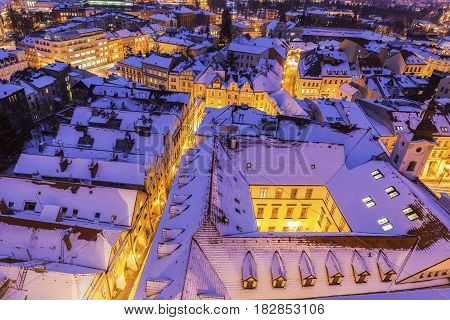 Winter panorama of Hradec Kralove. Hradec Kralove Bohemia Czech Republic.