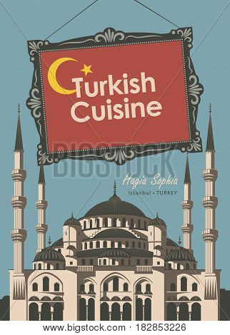 vector banner for a restaurant Turkish cuisine with turkish flag and Blue Mosque