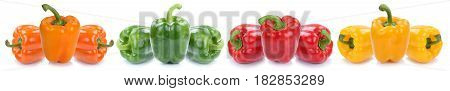 Bell Pepper Colorful Peppers Paprika Paprikas Vegetable Food Isolated On White