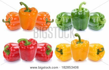 Bell Pepper Colorful Peppers Collection Paprika Paprikas Vegetable Food Isolated On White
