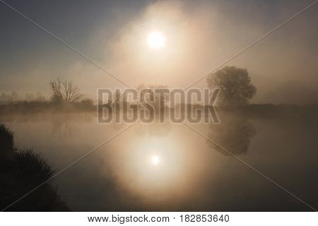 Misty morning at the lake tranquility, quiet place