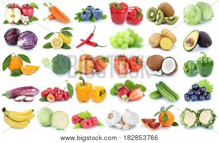 Fruits And Vegetables Collection Isolated Apple Orange Banana Grapes Lettuce Tomatoes Fresh Fruit