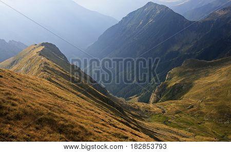 Deep mountain valley in summer, in Fagaras mountains, Romania