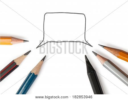 Speech Bubble With Six Pencils Around It