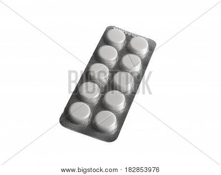 Blister pack of pills isolated on white background