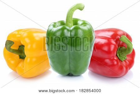 Bell Pepper Peppers Paprika Paprikas Colorful Vegetable Isolated On White