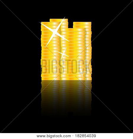Golden coins stacks. Investment golden finance vector money stack currency treasure illustration
