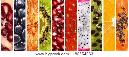 Collection of colorful fresh fruits over white background