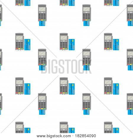 Seamless pattern terminal for payment and card. Paying retail device background financial payment reader. Vector illustration