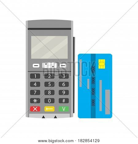 Terminal and credit card. Modern pay financial checkout finance buy vector technology transaction and transfer money illustration