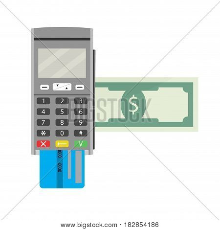 Payment by terminal. Processing banking electronic vector illustration