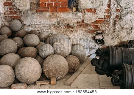 Riga, Latvia - July 2, 2016: Old Cannonballs In Museum Of Dome Cathedral.