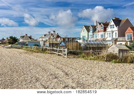Beach in the southeast of England with typical English houses