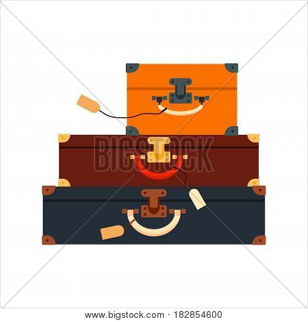 Flat set color trip suitcases for tourism vacation, with travelers stickers isolated on white background - vector stock illustration