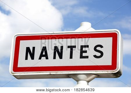 Nantes city road sign and panel in France