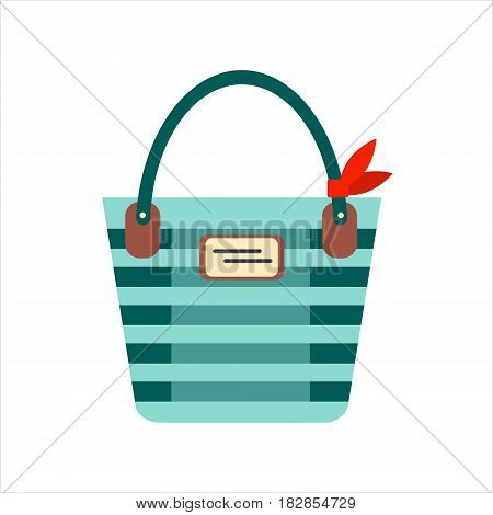 Flat blue color trip bag for tourism vacation isolated on white background - vector stock illustration.