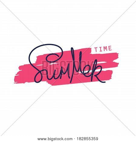 Paintbrush smear and author's lettering - Summer Time. Simple creative design elements. Vector EPS 8
