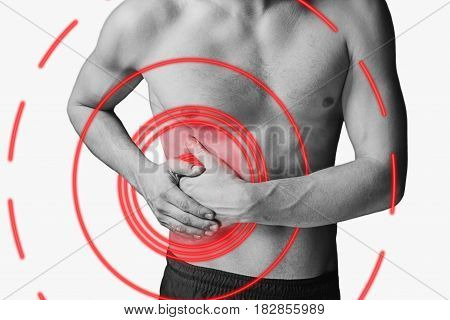 Acute pain in a right side of male abdomen. Monochrome image isolated on a white background. Pain area of red color.