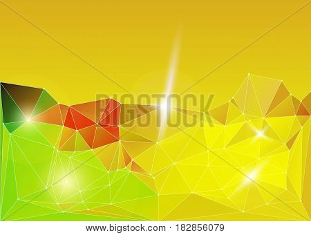 Bright color yellow gold polygonal vector background. Motion cyber space abstract futuristic pattern. Networking dynamic motion space.