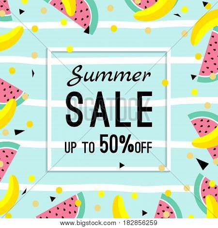 summer sale design template. pattern with fruits, banana, watermelon and geometric elements in memphis style background, vector