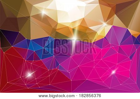 Futuristic shining dynamic networking fantasy space background. Low polygonal gradient red purple brown vector illustration. Horizontal motion diamond surface hyperspace.