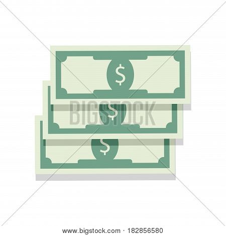 Heap cash money. Investment capitalt salary money banknote vector illustration