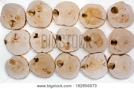 Several decorative interior unpolished alder wooden saw cuts with knots on white background.