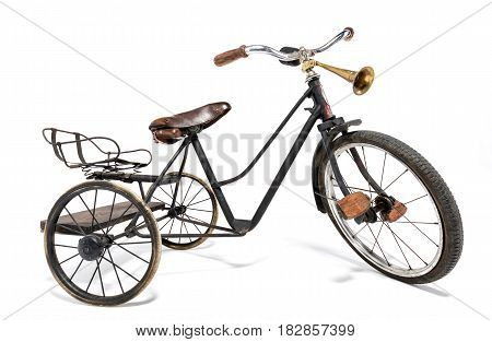 Old bike in retro style on a white background