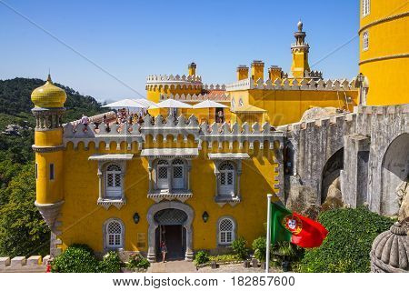 Sintra, Portugal - April 7, 2017: Pena National Palace. Palacio Nacional da Pena