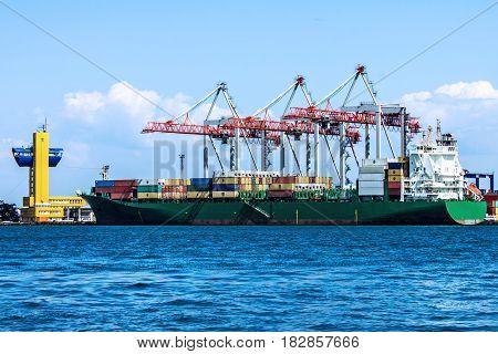 Odessa, Ukraine - April 18, 2017: Container ship Translog in Odessa sea port, Ukraine.