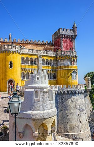 LISBON, PORTUGAL - APRIL 4, 2017: Pena National Palace in Sintra (Palacio Nacional da Pena), Portugal.