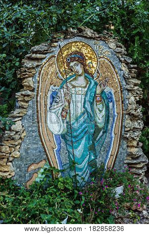Odessa, Ukraine - Apr 4, 2017: Mosaic icon of Angel in Orthodox Christian Monastery of the Holy Dormition