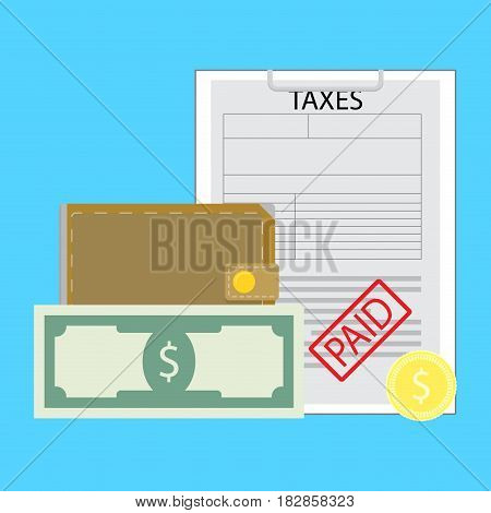 Pay tax concept. Payday payment banknote money vector illustration
