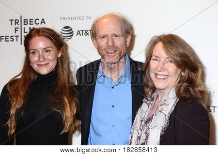 NEW YORK- APRIL 20: Filmmaker Ron Howard in center with guest`s  attends the `Genius` Premiere during Tribeca Film Festival 2017 at BMCC Tribeca PAC on April 20, 2017 in New York City.