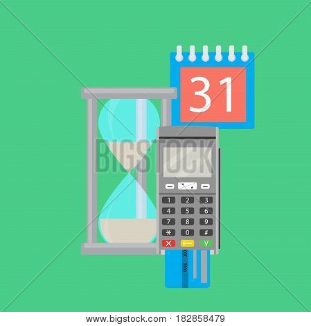 Time for pay. Transfer money and terminal card. Vector illustration