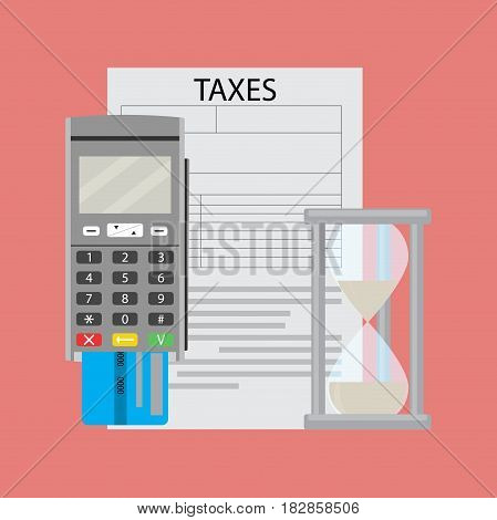 Tax document and transfer paying money vector tax accounting illustration