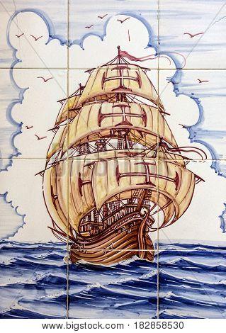 Lisbon, Portugal - April 2, 2017: Ancient ceramic tile museum Azulejo. Sailing of vessel Santa Maria da Colombo Madeira.