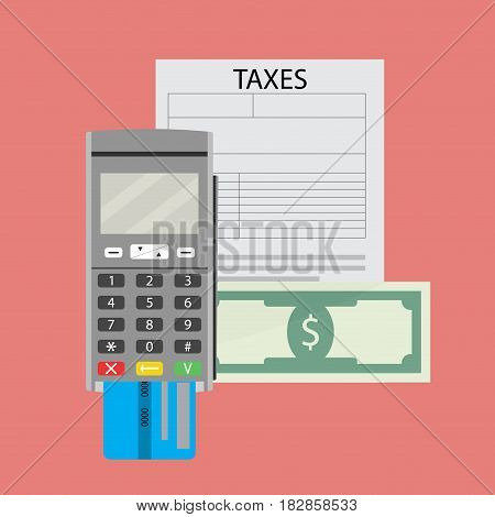 Taxation payment credit card pay. Counting tax pay vector illustration