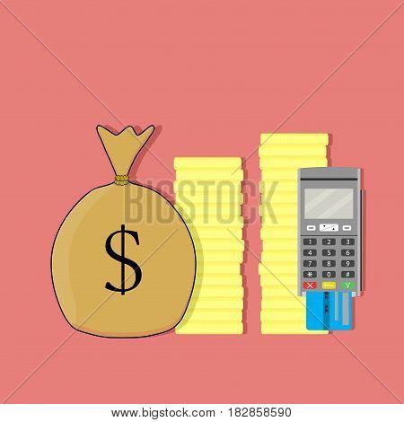 Terminal credit card modern transfer money technology pay finance electronic vector illustration
